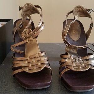 Gorgeous MIA Bronze Leather Strappy Heels